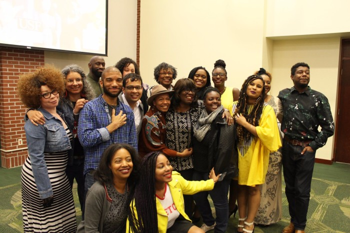Cave Canem fellows gather for a group photo at the Fellows Reading.