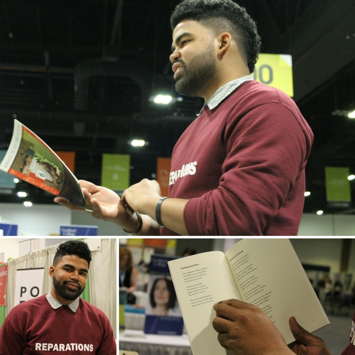 "2017 Cave Canem Poetry Prize winner, Julian Randall, stops by the booth and gives an impromptu reading from ""Spit Back a Boy: Poems"" by Iain Haley Pollock."